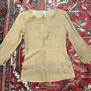 Joie Italian leather suede embroidered tunic xs